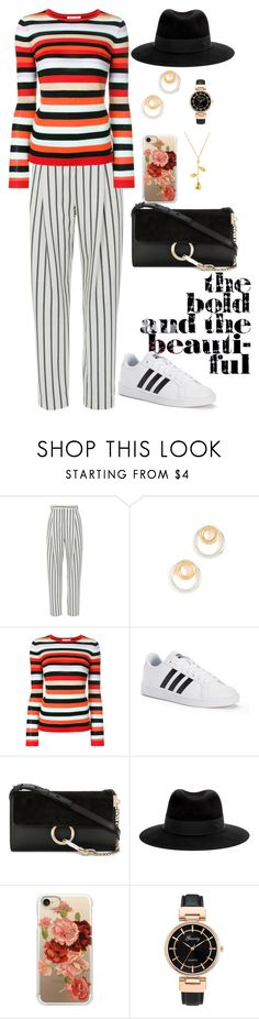 """""""I like stripes, do you?"""" by chase-stars ❤ liked on Polyvore featuring TIBI, Madewell, Bella Freud, adidas, Chloé, Maison Michel and Casetify"""