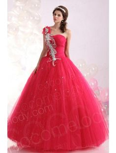 Perfect Ball Gown One Shoulder Floor Length Tulle Red Quinceanera Dress COUF13004 $279.99 Quinceanera Dress,Quinceanera Dress,Quinceanera Dress,Quinceanera Dress