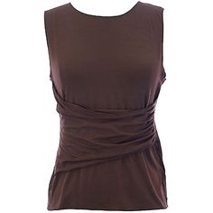 Pre-owned Armani Collezioni Brown Sleeveless Ruched Center Top... ($155) ❤ liked on Polyvore featuring tops, brown, sleeveless tops, ruched top, party tanks, going out tops and ruched tank top