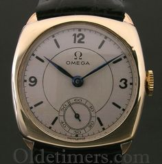 1930s 9ct gold cushion vintage Omega watch (3428)