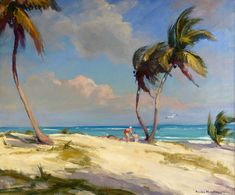 Emile Gruppe The Beach At Crandon Park, Florida Oil Painting Reproductions for sale Landscape Art, Landscape Paintings, Art Tropical, Art Plage, Seascape Paintings, Oil Paintings, Tropical Paintings, Painting Clouds, Oil Painting Gallery