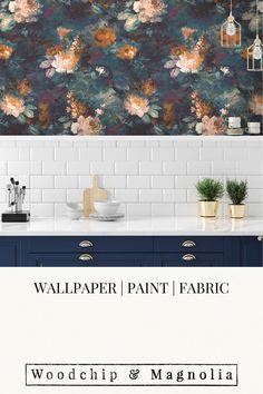 Wallpaper - Ava Marika Teal/orange Toilet Room, Botanical Wallpaper, Statement Wall, Teal Orange, Eclectic Design, Fabric Online, Fabric Painting, Designer Wallpaper, Wall Murals