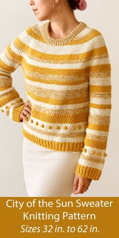 """Striped pullover sweater with a comfortable silhouette, wide sleeves, and textured stripes, with an embellishment of bobbles and cable ribbing, inspired by San Francisco. Worked flat in pieces and seamed. Sizes Finished bust 35.8 (38.2, 40.6, 42.9, 45.3, 47.6) (50, 52.4, 54.7, 57.1, 59.4, 61.8)"""" / 91 (97, 103, 109, 115, 121) (127, 133, 139, 145, 151, 157)cm. 2 strands of Fingering weight yarn held together. Designed by Ksenia Naidyon for Life Is Cozy."""