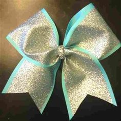 "Glitter Windows Glitter Windows SILVER Glitter on Aqua 3"" Cheer Bow    $14"