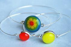 Bangle Set Fused Glass Stacking Bracelet Set by pennyglassgirl