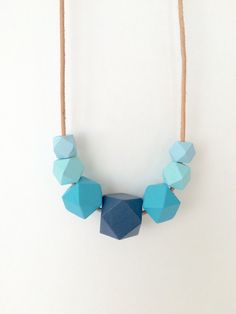 Blue statement necklace wooden bead necklace hand by MODFRESH