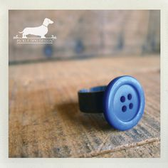 Bright Blue Button Adjustable Ring  by PickleDogDesign on Etsy, $6.50