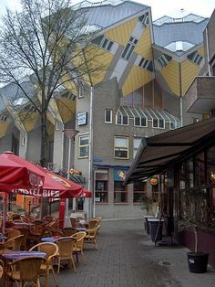 Streetside cafe and cube houses in Rotterdam, The Netherlands #Rotterdam #Netherlands