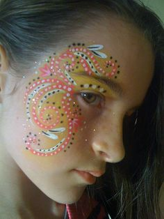 Face painting with eye flourish mask dots Monster Face Painting, Girl Face Painting, Belly Painting, Face Painting Designs, Painting For Kids, Face Paintings, Makeup Art, Eye Makeup, Laura Lee