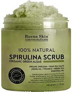 Buena Skin Spirulina Body Scrub 100 Natural Fights Acne Antifungal with Green Algae Dead Sea Salts and Vitamin E * Continue to the product at the image link. All Natural Skin Care, Natural Face, Green Algae, Natural Acne Remedies, Body Cleanser, Homemade Skin Care, Spirulina, Organic Oil
