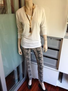 "I want to say ""mark my words"" - CAbi's Diamondback Super Skinny Jean will be a big hit for fall. As you probably know, snakeskin is THE animal print to have this season, and on top of that, these jeans are soooo comfortable. For right now I have them paired with our Serene Tee - a super soft rayon knit and just a pair of flats."