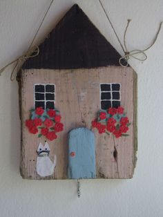 Hand made wall decoretion key holder shabby chic cottage with cat