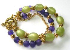 Purple/Green Multistrand Bracelet  Handmade by SwankyJewels -- 28 euro