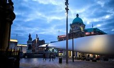 The Blade, a temporary artwork made from rotor blade of a Siemens' wind turbine and commissioned for the city of culture, on display in Victoria Square, Hull.