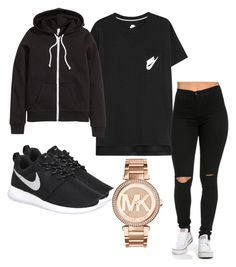 """b&w"" by rabiamiah on Polyvore featuring NIKE, H&M and Michael Kors"