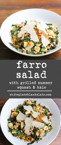 Hearty farro salad with kale and grilled summer squash. A prefect vegetarian lunch or meatless dinner.