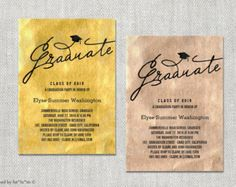 Graduate Script Metallic Foil Graduation Announcement & Party Invitation | Custom Stylish Modern Chic Photo Card Invite | PRINTED /PRINTABLE