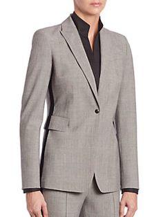Akris punto - Glen Plaid Tuxedo-Stripe Blazer