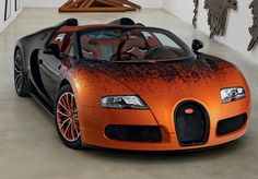This Bugatti Veyron Grand Sport features scientific formulas and mathematical paintings.