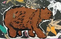 """Old Bear: Leaf Print and Bear Painting. Great idea for autumn, integration science lessons about animal hibernation and why leaves turn colors and fall. Inspired by Kevin Henkes's picture book, """"Old Bear"""". From the Deep Sparkle website."""