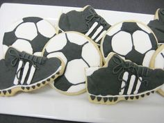 Soccer sugar cookie favors by CookieCheers on Etsy, $30.00    I think it would be so cute to have cookies like these. I'm sure you can find someone local to bake them. But the cleets and the soccer balls are too cute and you could give them out with the favors if you have them individually wrapped.