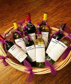 Wine Basket Gift Ideas Discover 8 Bridal Shower Wine labels - First Large Wine Bottle, Wine Bottles, Bridal Shower Wine, Bridal Shower Gifts For Bride, Wine Gift Baskets, Basket Gift, Dates, Engagement Gifts, Xmas Gifts