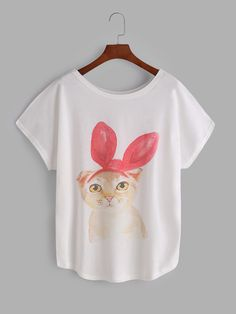Camiseta de mangas dolman con estampado de gato-(Sheinside)