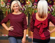 Great Bow Back Blouse for GameDay!  Go Gamecocks!  Available in S, M, L, XL, 2X, 3X.  |  105 West Boutique in Abbeville, SC.  (864) 366-WEST.  Shipping $5.