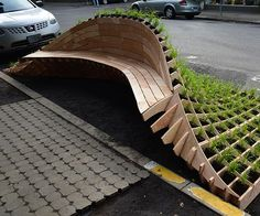 A beautiful outdoor design for a simple bench.: