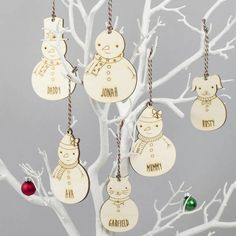We Are Scamp Snowman Family Personalised Christmas Decorations