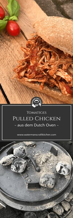 Pulled Chicken - tomatiges Hühnchen aus dem Dutch Oven cooking with a meat smoker - Smoker Cooking Slow Cooker Meat Recipes, Baked Meat Recipes, Healthy Meat Recipes, Meat Recipes For Dinner, Turkey Meat Recipes, Chicken Recipes, Pork Recipes, Roast Meat Recipe, Low Carb Meats