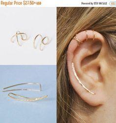 ON SALE Set of 3 - Ear Climber Ear Cuff Double Ear Cuff Earring Climbers 30mm Criss Cross Ear Cuff Climber Earrings Ear Crawlers Earr #jewelry