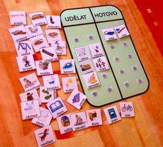 To do list. Lze použít také pro denní režim. Velikost A4,35 kartiček činností, velikost 3,5x3,5cm.