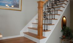 Best Brazilian Cherry Stairs With White Risers Solid Oak 640 x 480