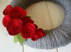 Yarn Wreath Felt Handmade Door Decoration  Classic by ItzFitz, $45.00