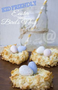 Easy Easter Birds Nest Dessert - Kid Friendly Recipe by joanne Mimosas, Holiday Treats, Holiday Recipes, Easy Desserts, Delicious Desserts, Desserts Ostern, Biscuits, Easter Treats, Easter Food