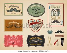 Vintage color tone barber shop logo, labels, badges, banner, emblem, insignia, poster and design element - stock vector