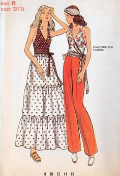 superseventies: 1970s sewing pattern illustrations |halter tops