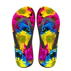 2016 Fashion Brand Design Women s Flop Flips Colorful Flower Casual Summer  Beach Sandals Shoe Female Rose d5ffc9e0502d