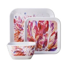 I just like these!  Room Essentials® 12 Piece Floral Square Dinnerware Set - Red