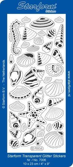 Starform Stickervel Transparant Glitter Zilver Schelpen 7006 - Glitter Sticker Sheets