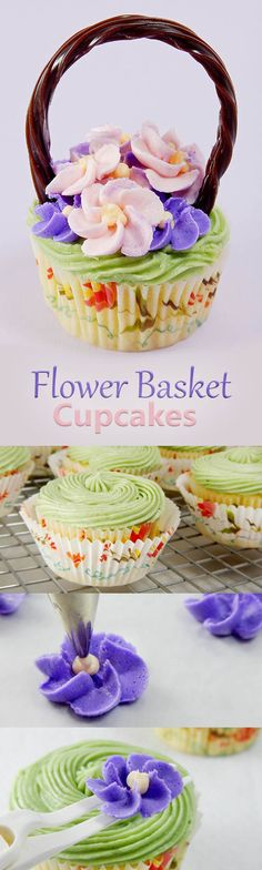Flower Basket Cupcakes. A step-by-step photo tutorial for making cupcakes that look like baskets full of flowers. These make great Mother's Day Cupcakes, Spring Party Treats, and Easter Desserts. Healthy Cupcakes, Fancy Cupcakes, Holiday Cupcakes, How To Make Cupcakes, Easter Cupcakes, Cupcake Cookies, Making Cupcakes, Mothers Day Desserts, Mothers Day Cupcakes