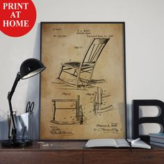 Rocking Chair Patent Art Print-Old Poster-Patent Prints-Patent Poster-Printable Wall Art-Man Cave Decor-Boyfriend Gift-Husband Gift For Men