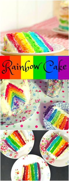 Rainbow Cake Recipe – How to make a Rainbow Cake! A delicious step by step UK-friendly recipe to make a bright and vibrant layered Rainbow Sponge Cake with Cream Cheese Frosting – perfect for birthdays! Mini Tortillas, Cake With Cream Cheese, Cream Cheese Frosting, Cream Cheeses, Rainbow Birthday, Cake Rainbow, Rainbow Food, Rainbow Cake Tutorial, Rainbow Baking