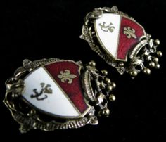 Coro Signed Earrings Regal Vintage Gold Tone Red White Enamel Heraldic Shield | eBay