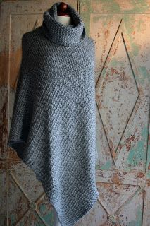 marianne mirabelle: seed stitch poncho with turtleneck, no pattern but easy to figure out from this photo.