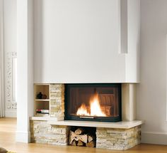 Fireplaces and stoves - Palazzetti Modern Stone Fireplace, Living Room Designs, Living Spaces, Living Room Remodel, House Plans, Sweet Home, New Homes, Interior Design, Fireplaces