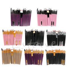 20 Stks Cosmetische Borstels Pro Poeder Foundation Oogschaduw Eyeliner Lip Make Set Up Oogschaduw Foundation Concealer Borstels