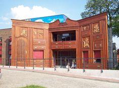 Strange building, Doll's Theatre Torun in Poland