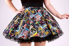 Wars Comic Circle Skirt -Star Wars Comic Circle Skirt - Pinup Comic Skirt / Vintage Inspired African Wax Print High Low Maxi A Line Cut Skirt by WithFlare More Get these shorts on or see more Suspenders Star Wars Comic Circle Skirt Fashion 90s, Tokyo Street Fashion, Cute Fashion, Vintage Fashion, Fashion Outfits, Fashion Clothes, Neo Grunge, Grunge Style, Soft Grunge